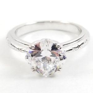 Platinum & Sterling Diamonique Bloom Cut Solitaire